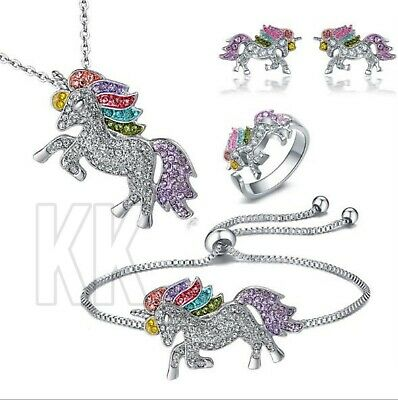 £3.77 • Buy Unicorn Pendant Necklace Chain Flying Horse Kids Girls Jewellery Party Gifts Uk