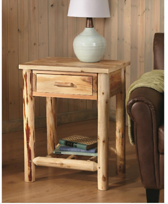 $139.99 • Buy Solid Pine Wood Log End Side Table Wooden Cabin Nightstand Bedroom Lamp Stand