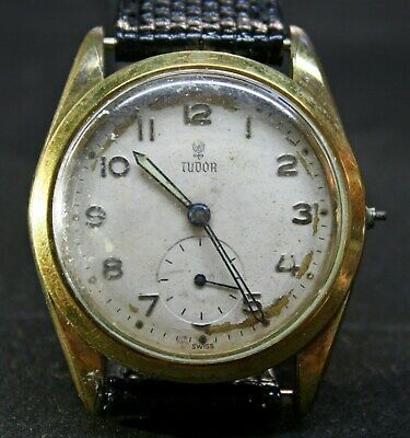 $ CDN211.83 • Buy Vtg TUDOR Oyster Plaque GOLD 20 Cal. 1260 Small Rose Dial 34mm 15 RUBIES 1950's