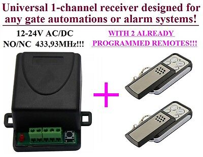 AU44.90 • Buy Universal 1-ch Receiver + 2 Remotes For Garage Gates BFT, SOMFY, BENINCA, BERNER