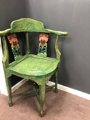 Country House Furniture Corner Chair Seat -  Green Ornate Carved Bird • 135£