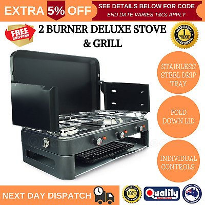 AU190.95 • Buy Deluxe 2 Burner Grill Stove Grill Portable Outdoor Cooking Gas Camping Kitchen