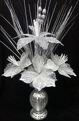 Beautiful Silver Bling Mosaic Mirror 26cm Vase With Silver Flowers, Home Decor • 25£