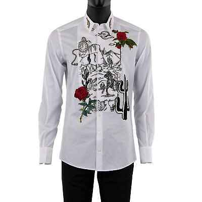 DOLCE & GABBANA GOLD Western Roses Watch Pistol Embroidery Shirt White 08509 • 1,384£