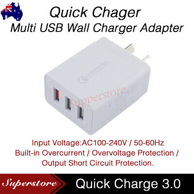 AU14.95 • Buy QC3.0 25W 3 USB Wall Charger Fast Charging Adapter AU Wall Charger For Iphone