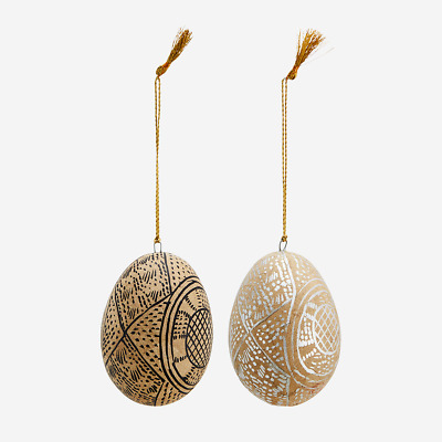 £6 • Buy Hanging Painted Easter Egg Tree Decoration, Papier Mache Black Or Silver Indian