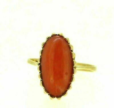 £336.86 • Buy Gold Ring Solid 18K With Spool Of Coral Cerasuolo Oval Vintage Years' 50