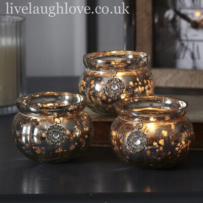 Antique Glass Tea Light Holder With Hanging Diamante Charms - Set Of 3 • 12.95£