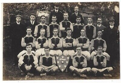 SOCIAL HISTORY Unidentified Football Team With Shield, RP Postcard Unused • 5.95£