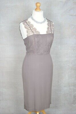 AU53.50 • Buy LK BENNETT Brown/Taupe Lace Pencil Fit Dress UK 14