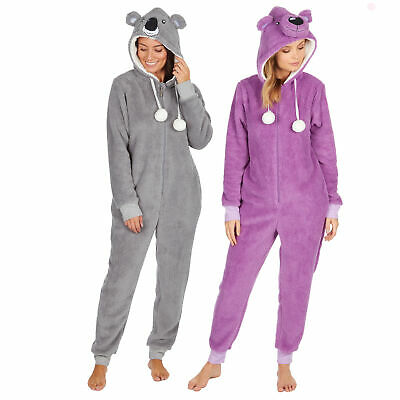 Womens Ladies Fluffy Koala Bear Pyjama Jumpsuit All In One One Piece 1Onesie PJs • 21.99£