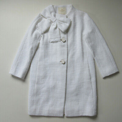 AU259.03 • Buy NWT Kate Spade Cotton Tweed Dorothy In Fresh White Bow Topper Coat 0 $548