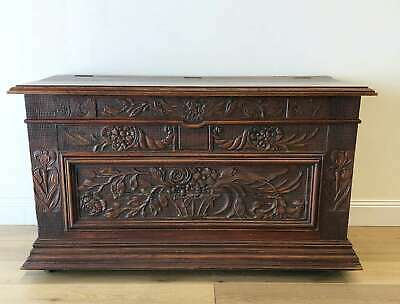 AU1785 • Buy Antique French Coffer Chest Trunk Oak Rare Heavily Carved - RF220