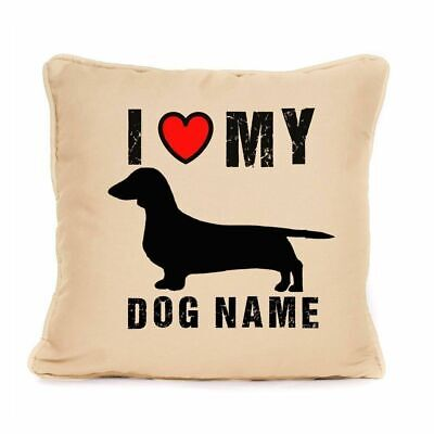 Personalised I Love My Sausage Cushion Best Present For Dachshund Dog 18 X 18  • 8.49£