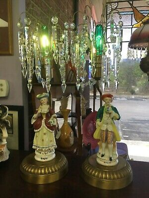 $ CDN117.61 • Buy Antique Hand-Painted Porcelain Figurine BOUDOIR Lamps With Hanging Crystals