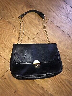 Black Quilted Cross Body Double Chain Faux Leather Bag  • 2£