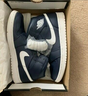 $100 • Buy Nike Air Jordan 1 Mid Obsidian White 554724 402 Size 9 Complete With Box