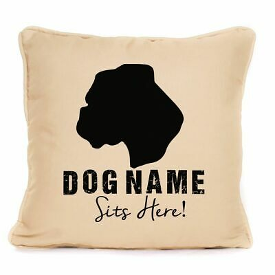 Personalised Boxer Dog Sits Here Print Cushion With Pad Gift For Dog Lover 18x18 • 14.99£