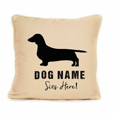 Personalised Dachshund Sits Here Print Cushion With Pad Gift For Dog 18x18 • 9.99£