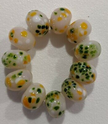 10 Pale Peach With Yellow Aventurine And Light Pink Frit Lampwork Beads Sra _ • 5.44£