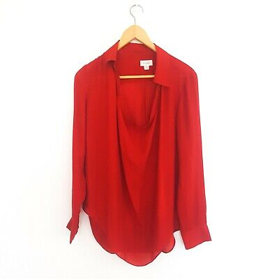 AU25 • Buy Witchery Womens Size 10 Red Silk Long Sleeve Sheer Lightweight Top Blouse