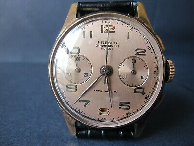 $ CDN599.36 • Buy Vintage Eresco Chronograph Suisse Watch Gorgeous Dial