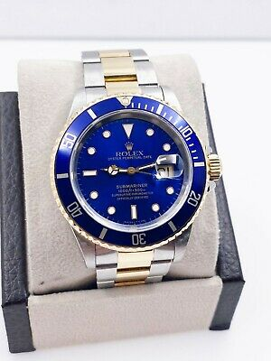 $ CDN11496.71 • Buy Rolex Submariner 16613 Blue Dial 18K Yellow Gold Stainless Steel