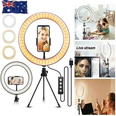 AU27.99 • Buy 10  Phone Selfie LED Ring Light Stand Dimmable For Makeup Video Shooting Live AS