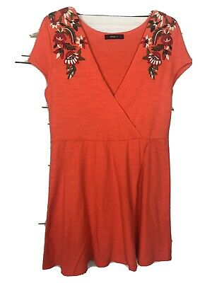 $19.73 • Buy Zara Knit Floral Embroidered Faux Wrap Dress-Orange-Short-Cotton-Size Small