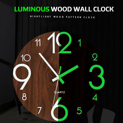 Luminous Wall Clock Non Ticking Low Noise Living Room Home Decor Arabic Number • 10.21£