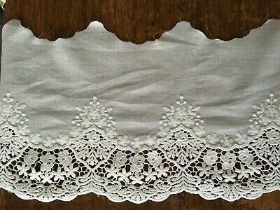 Off White Cotton Embroidery Lace Fabric DIY  Material Width 20 Cm 1 Yard • 4.39£