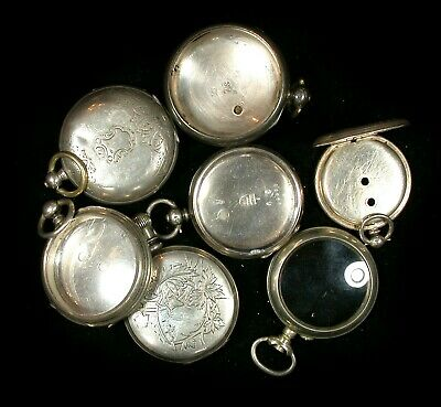 $ CDN99 • Buy Nice Lot Of 7 Antique Pocket Watch Cases In Silver English & French