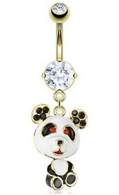 NEW & SEALED Gold Panda Moveable Bear Dangle Belly Navel Bar Ring • 3£