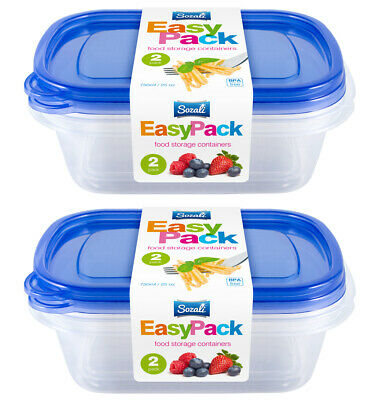 4pc 750ml Food Storage Container Box With Lids Tupperware Plastic Strong Handy • 6.29£