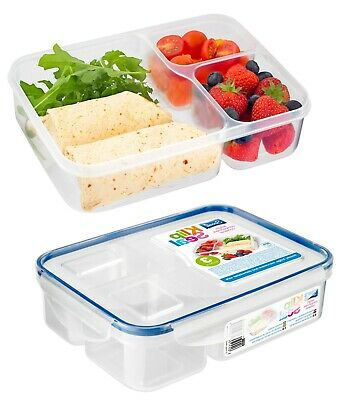 3 Compartment Food Storage Container Lunch Box Plastic Meal Prep Split Clip Lock • 6.29£