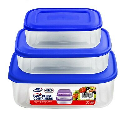 3 Plastic Food Container Storage Box Set Easy Pack Lid Kitchen Handy Tupperware • 6.99£
