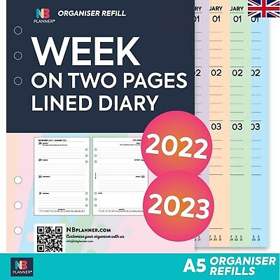 2021 Filofax A5 COMPATIBLE Week On Two Pages Lined Diary Refill Insert • 7.98£