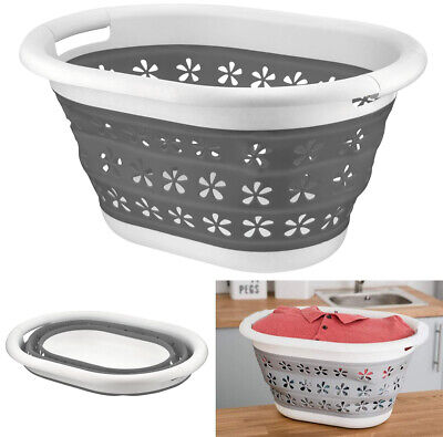 £12.99 • Buy Collapsible Silicone Laundry Basket Oval Washing Clothe Bin Foldable Easy Pop Up