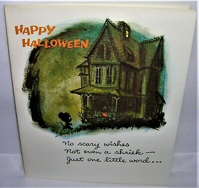 $ CDN5.99 • Buy VINTAGE 1950's Norcross HALLOWEEN Greeting Card Spooky HAUNTED HOUSE, MOUSE