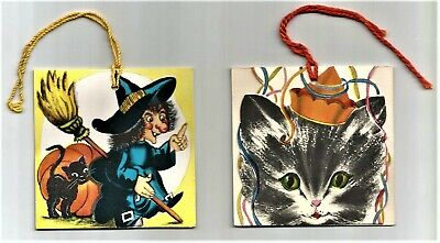 $ CDN5.22 • Buy 2 Assorted VINTAGE 1950's Gibson HALLOWEEN Party Tally Card WITCH, BLACK CAT