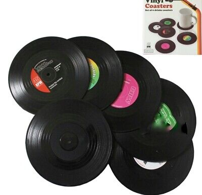Six Vinyl Style Boxed Coasters Place Mats Bar Set Retro Vintage Record Discs UK  • 6.49£