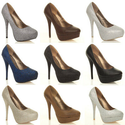 Womens Ladies Party Prom Wedding Platform Pumps High Heels Court Shoes Size • 12.99£