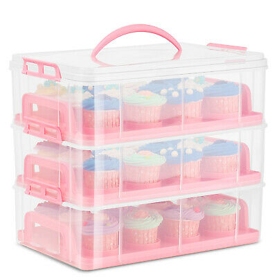 Cupcake Carrier Holder Container Box Plastic Storage Basket Taker Courier, Pink • 25.99£