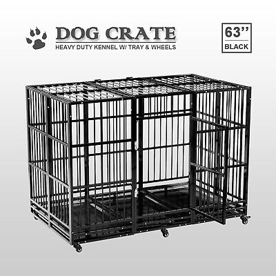 $343.99 • Buy 63'' Dog Crate Cage Large Square Tube Heavy Duty Metal Kennel W/Wheels & Tray