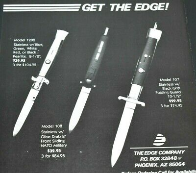 $ CDN7.05 • Buy 1985 Vintage Print Ad Automatic Pocket Knives Get The Edge Collector Items AZ