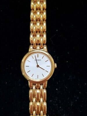 $ CDN32.99 • Buy Vintage Seiko V700-6389 Gold Round White Face Womens Quartz Watch