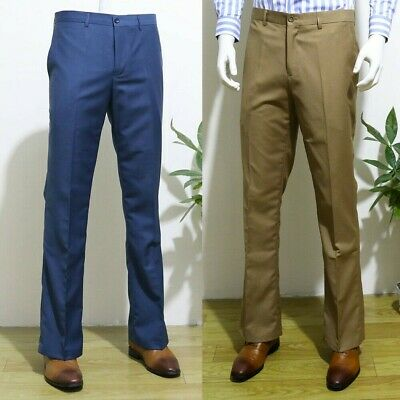 £29.99 • Buy Mens Flared Bell Bottom Pants Business Smart Bootcut Trousers Slim Fit Plain