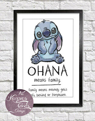 Disneys Lilo And Stitch Ohana Means Family Quote Artwork Wall Poster Print - ST5 • 6.99£