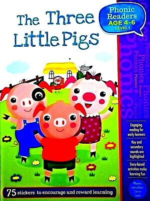 The Three Little Pigs, Phonics Readers, Age 4-6 Children's Book, 75 Stickers New • 3.41£