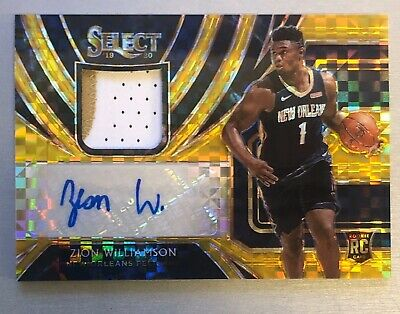 $7500 • Buy 2019-20 Panini Select Zion Williamson GOLD RPA Auto/Autograph Patch RC 3/10 WOW!